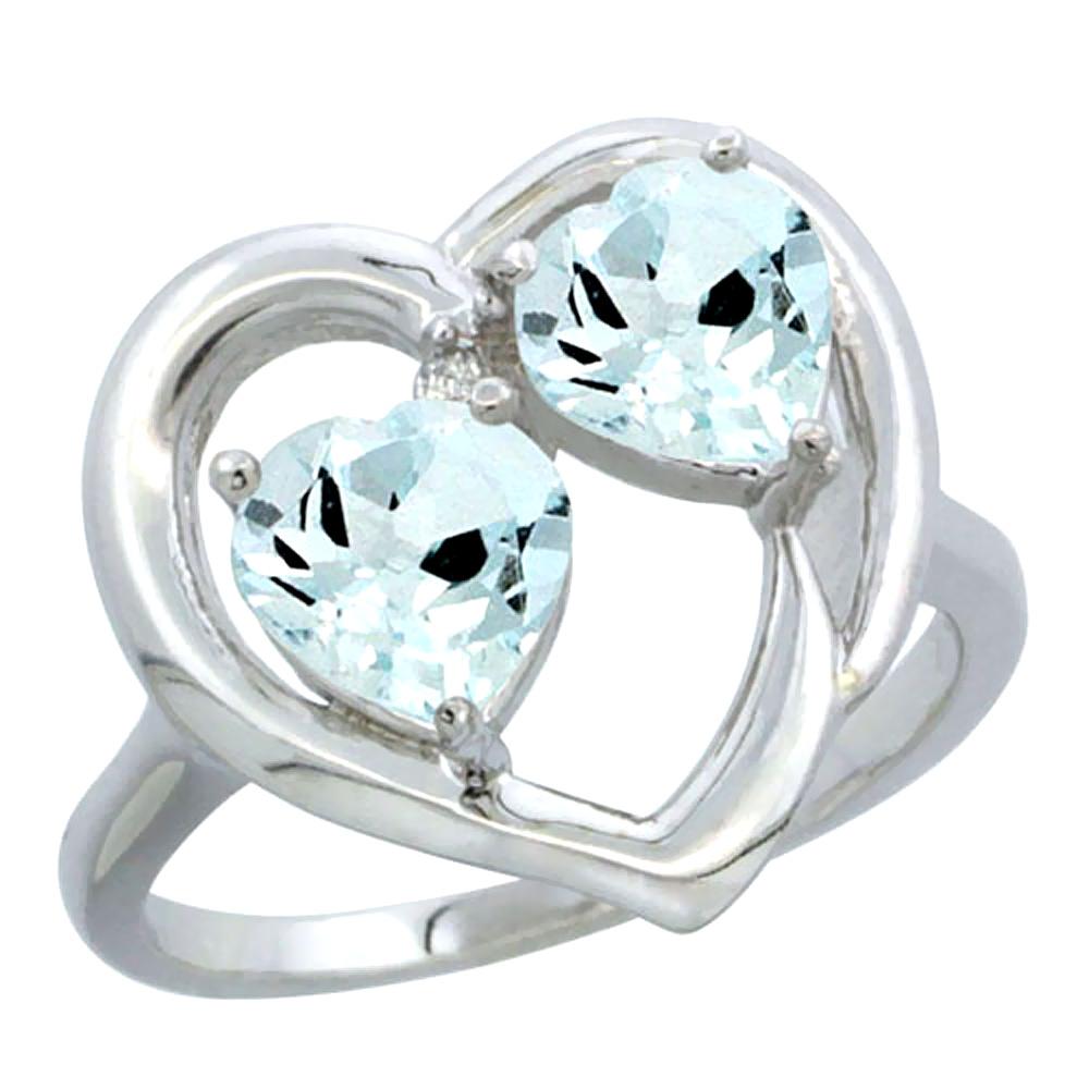 10K White Gold Diamond Two-stone Heart Ring 6mm Natural Aquamarine, sizes 5-10