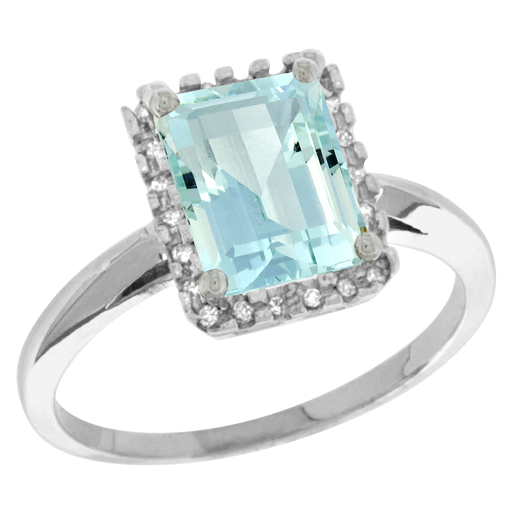 14K White Gold Diamond Natural Aquamarine Ring Emerald-cut 8x6mm, sizes 5-10