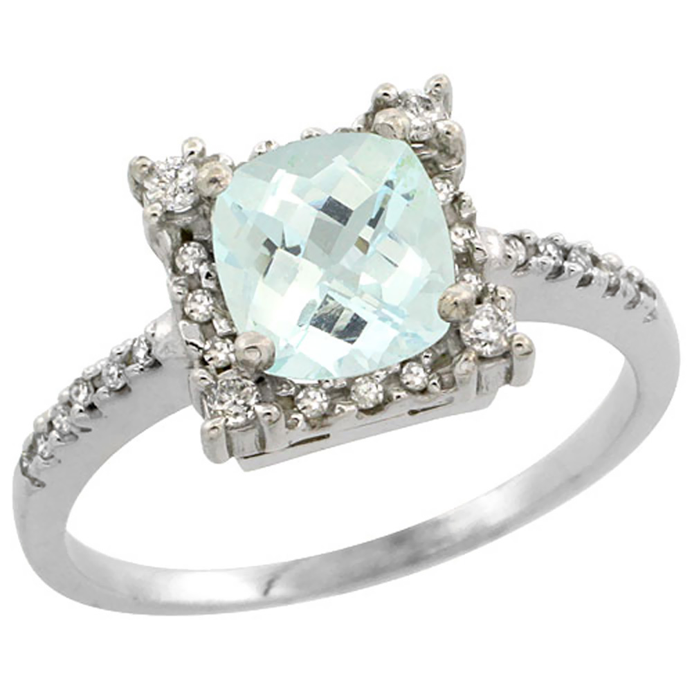 14K White Gold Natural Aquamarine Ring Cushion-cut 6x6mm Diamond Halo, sizes 5-10