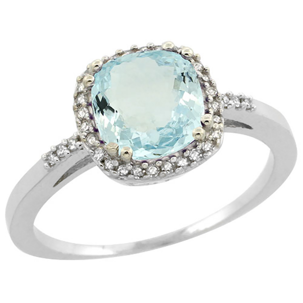 14K White Gold Diamond Natural Aquamarine Ring Cushion-cut 7x7mm, sizes 5-10