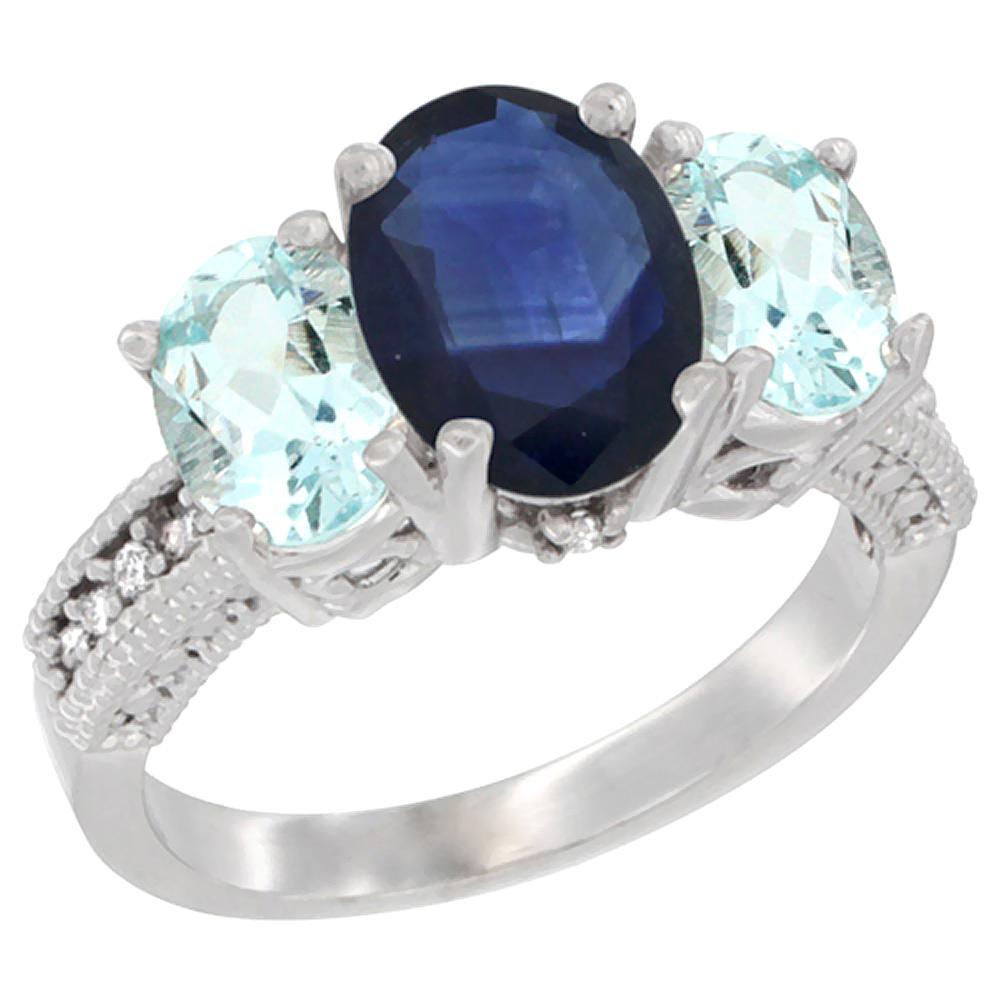 10K White Gold Diamond Natural Aquamarine 8x6mm & 7x5mm Quality Blue Sapphire Oval 3-stone Ring,sz5-10