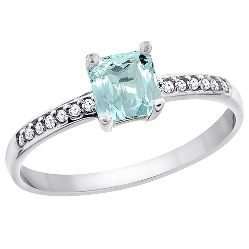 14K White Gold Natural Aquamarine Ring Octagon 7x5 mm Diamond Accents