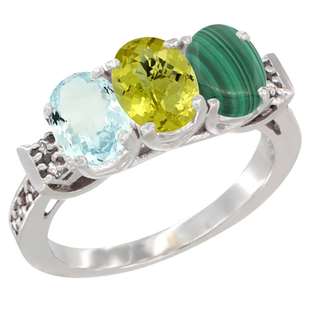 14K White Gold Natural Aquamarine, Lemon Quartz & Malachite Ring 3-Stone Oval 7x5 mm Diamond Accent, sizes 5 - 10