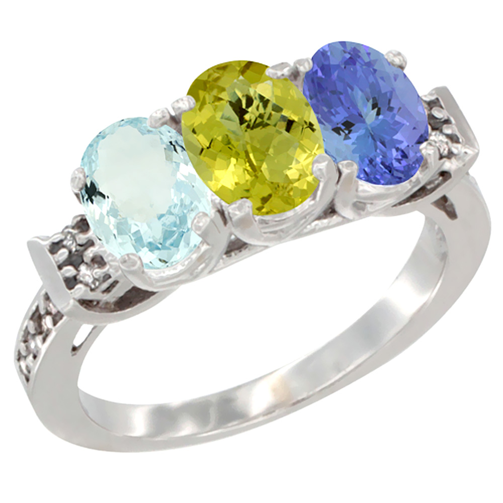 14K White Gold Natural Aquamarine, Lemon Quartz & Tanzanite Ring 3-Stone Oval 7x5 mm Diamond Accent, sizes 5 - 10