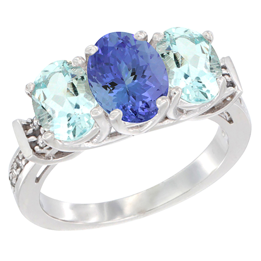 14K White Gold Natural Tanzanite & Aquamarine Sides Ring 3-Stone Oval Diamond Accent, sizes 5 - 10