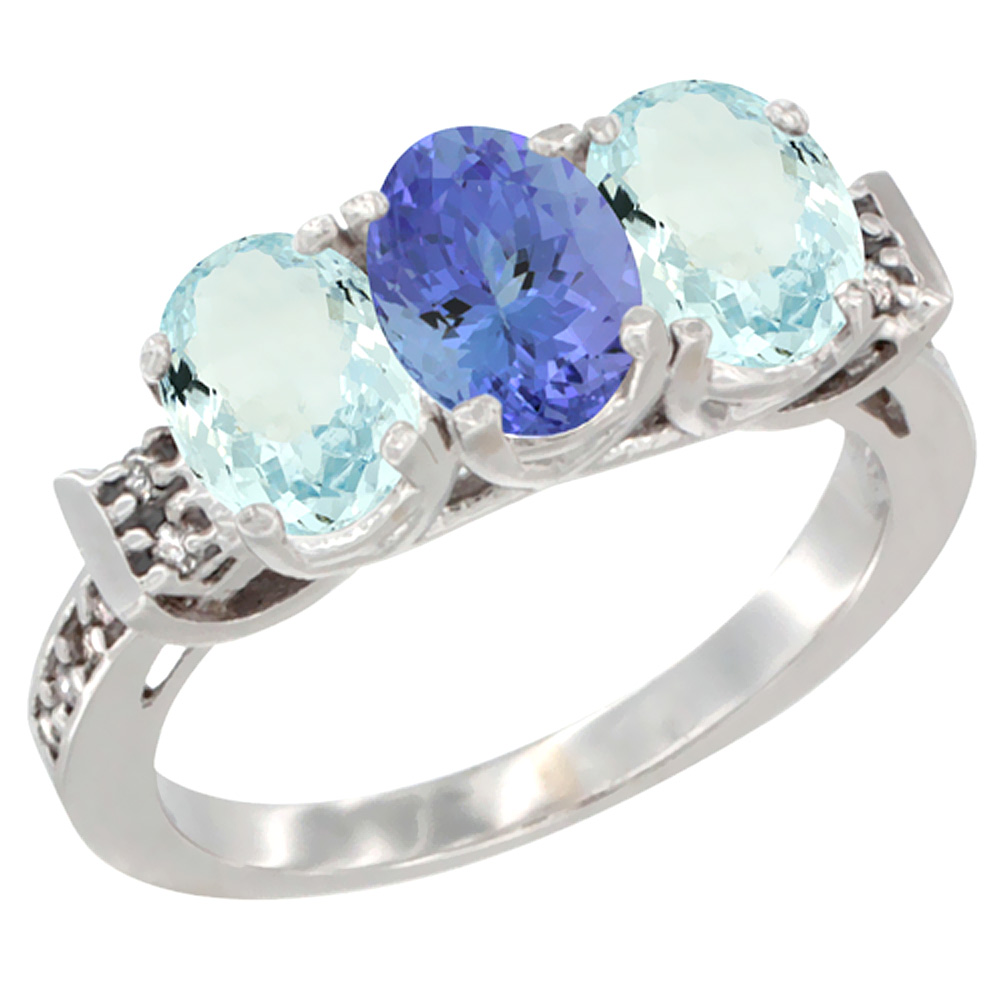 14K White Gold Natural Tanzanite & Aquamarine Sides Ring 3-Stone Oval 7x5 mm Diamond Accent, sizes 5 - 10