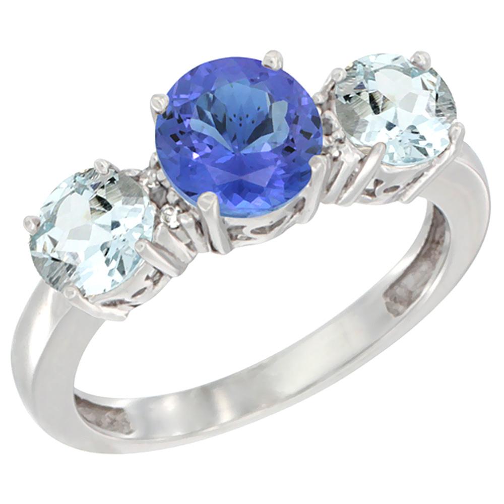 14K White Gold Round 3-Stone Natural Tanzanite Ring & Aquamarine Sides Diamond Accent, sizes 5 - 10