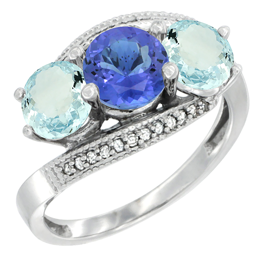 14K White Gold Natural Tanzanite & Aquamarine Sides 3 stone Ring Round 6mm Diamond Accent, sizes 5 - 10