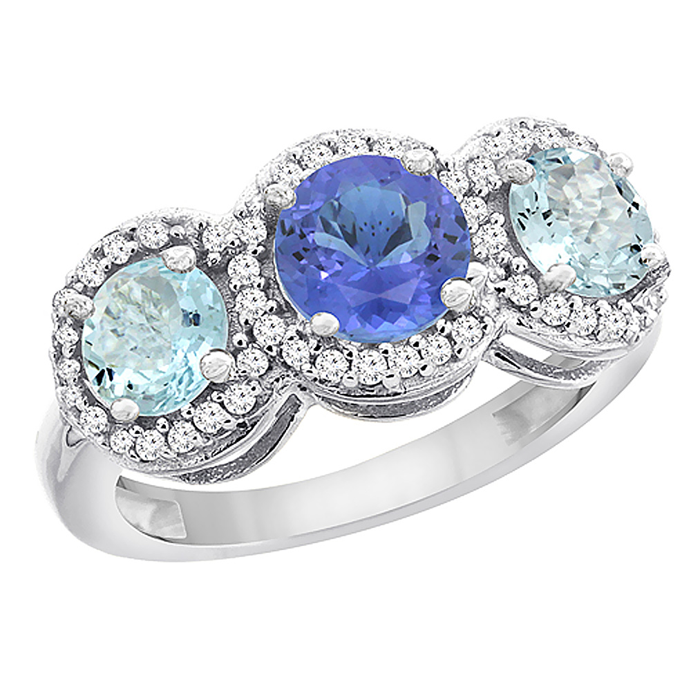 14K White Gold Natural Tanzanite & Aquamarine Sides Round 3-stone Ring Diamond Accents, sizes 5 - 10