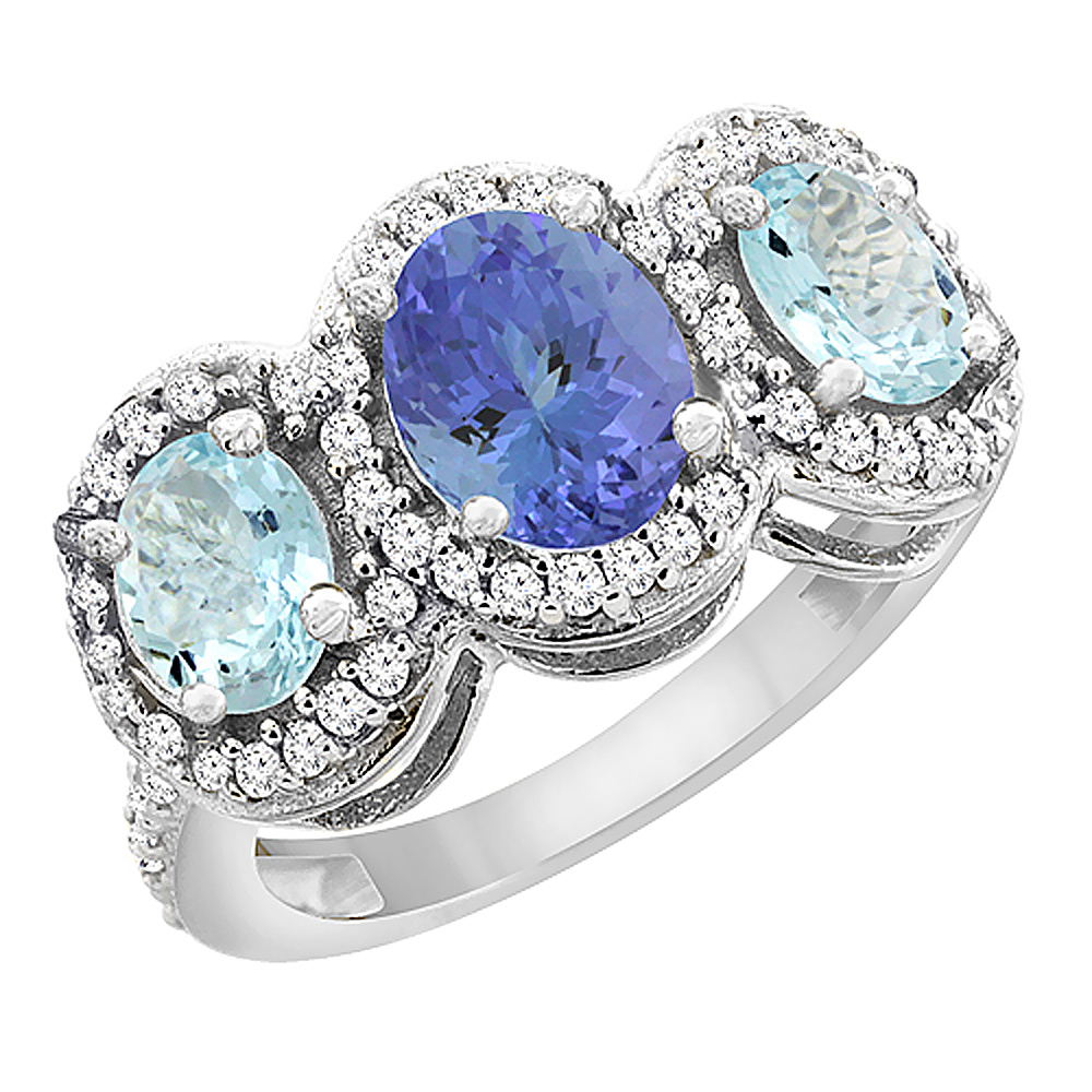 14K White Gold Natural Tanzanite & Aquamarine 3-Stone Ring Oval Diamond Accent, sizes 5 - 10