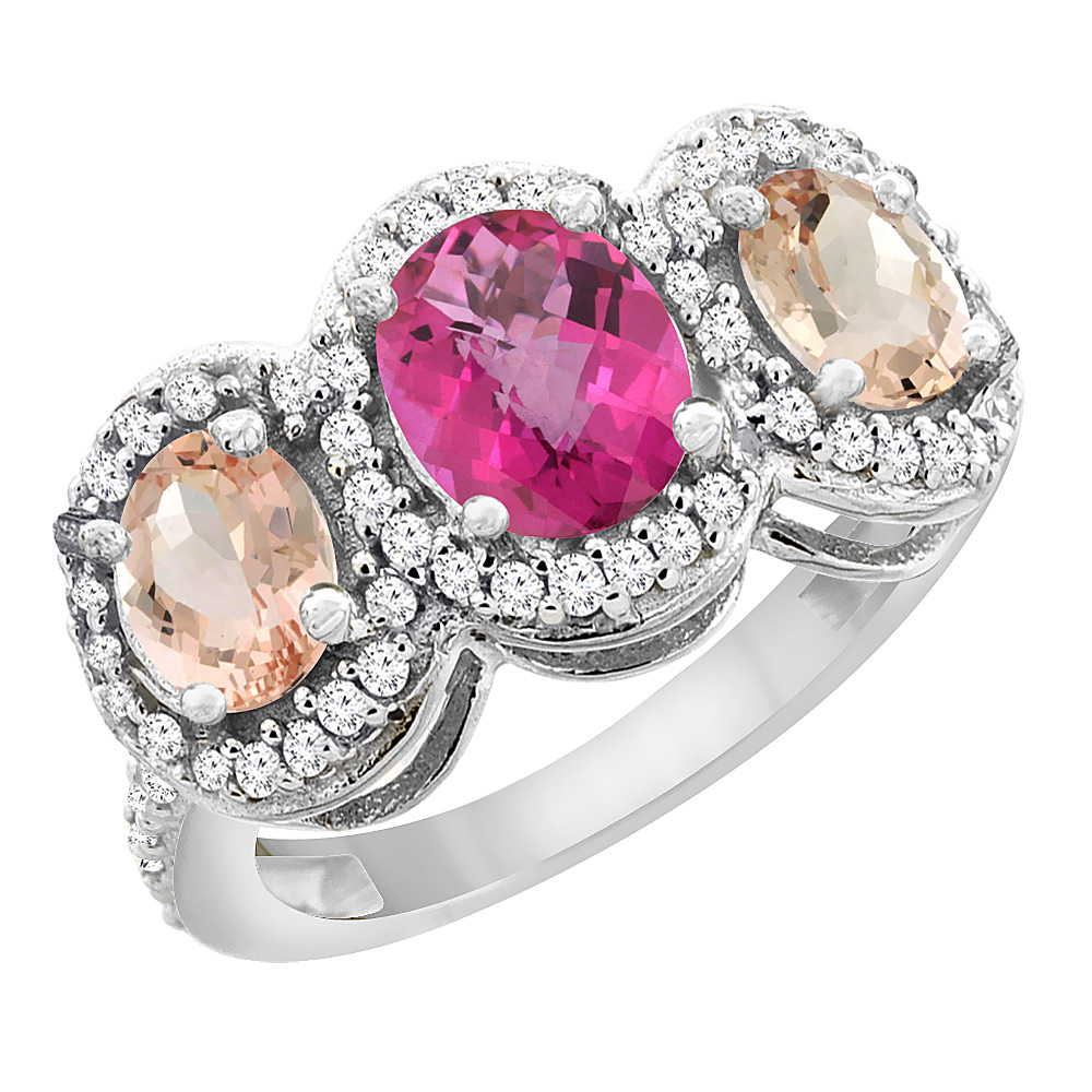 14K White Gold Natural Pink Sapphire & Morganite 3-Stone Ring Oval Diamond Accent, sizes 5 - 10