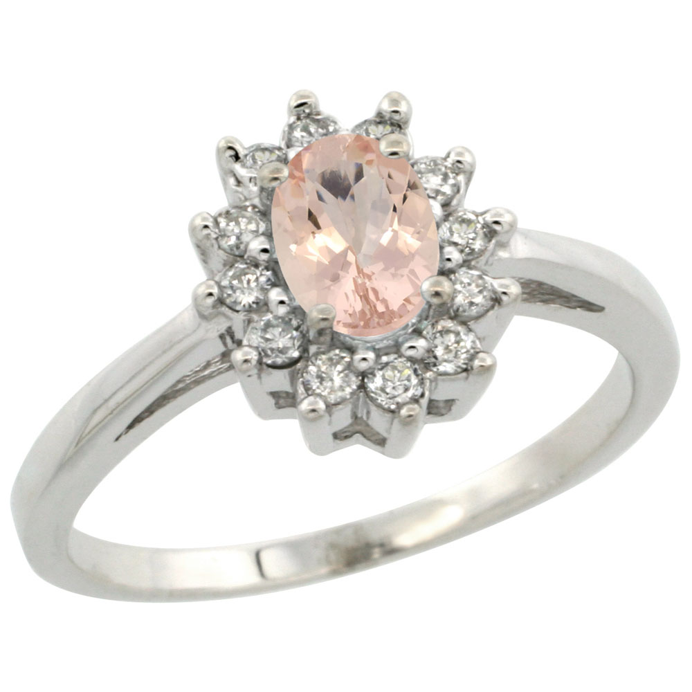 10K White Gold Natural Morganite Flower Diamond Halo Ring Oval 6x4 mm, sizes 5 10