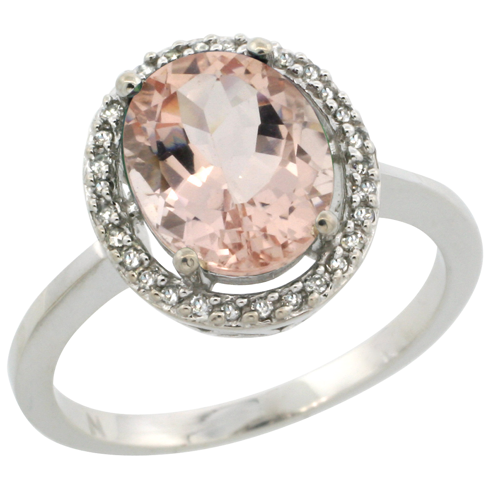 10K White Gold Diamond Halo Natural Morganite Engagement Ring Oval 10x8 mm, sizes 5-10