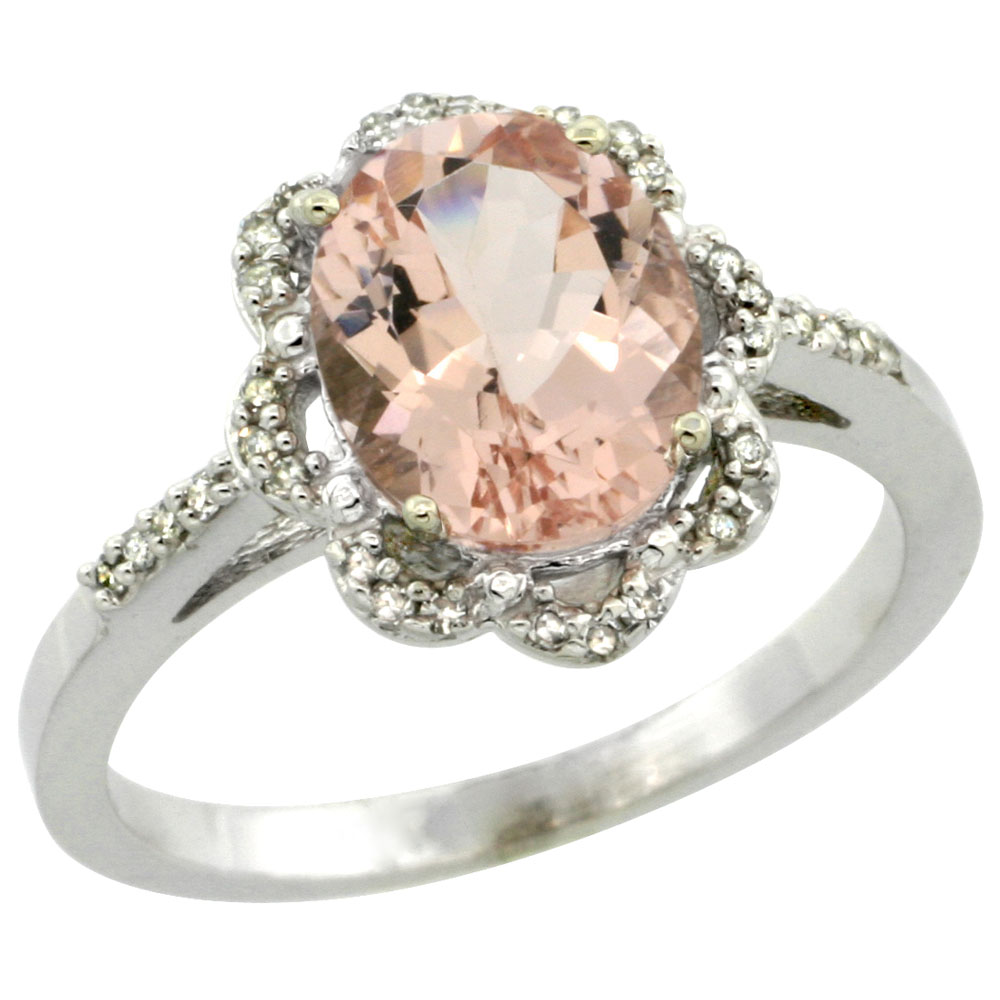 14K White Gold Diamond Halo Natural Morganite Engagement Ring Oval 9x7mm, sizes 5-10