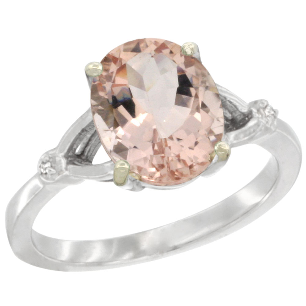 10K White Gold Diamond Natural Morganite Engagement Ring Oval 10x8mm, sizes 5-10