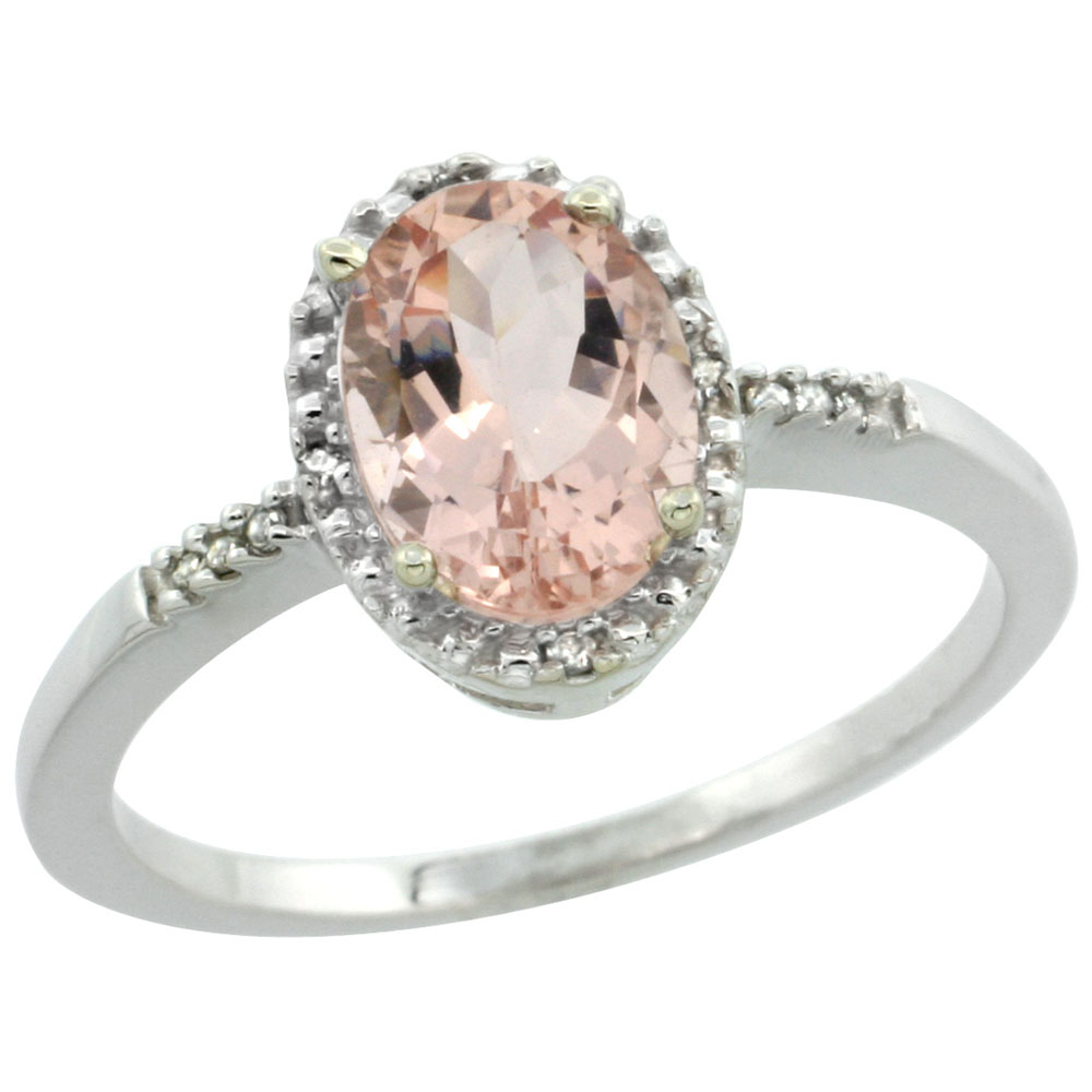 14K White Gold Diamond Natural Morganite Ring Oval 8x6mm, sizes 5-10