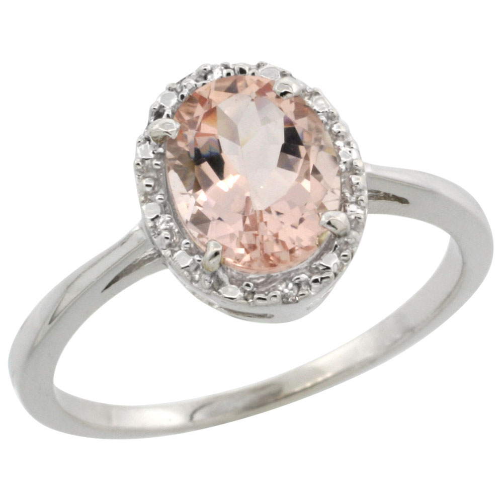 10k White Gold Natural Morganite Ring Oval 8x6 mm Diamond Halo, sizes 5-10