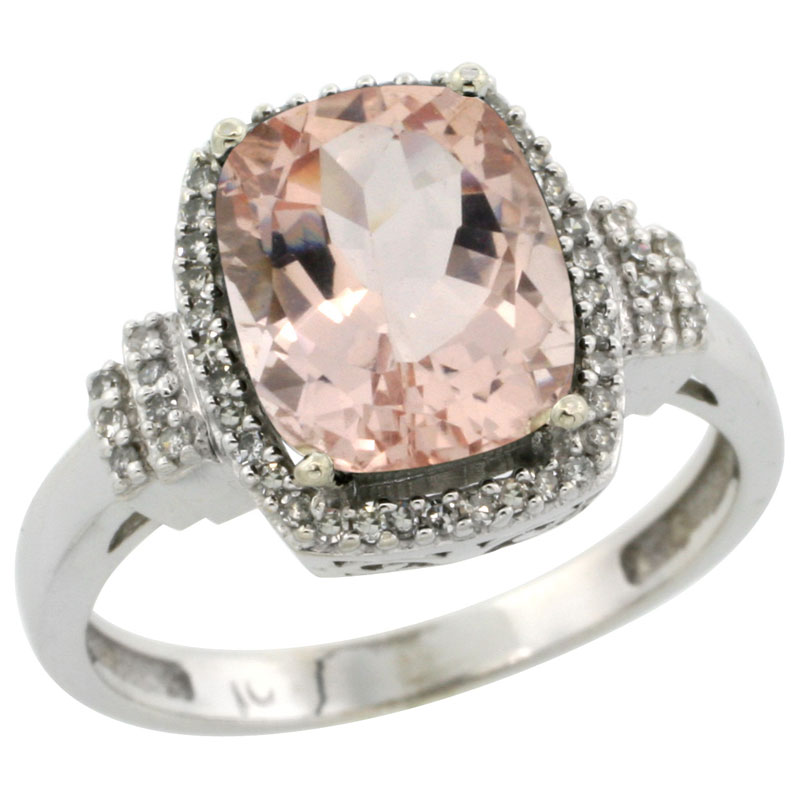 14K White Gold Natural Morganite Ring Cushion-cut 9x7mm Diamond Halo, sizes 5-10