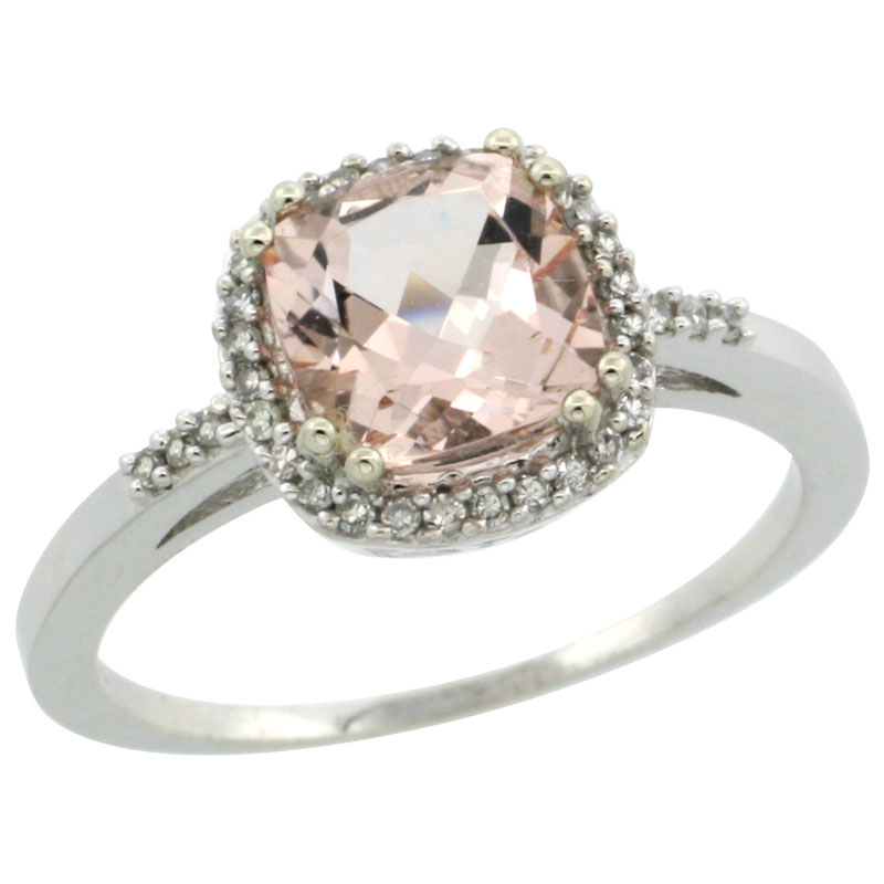 14K White Gold Natural Diamond Morganite Ring Cushion-cut 7x7mm, sizes 5-10