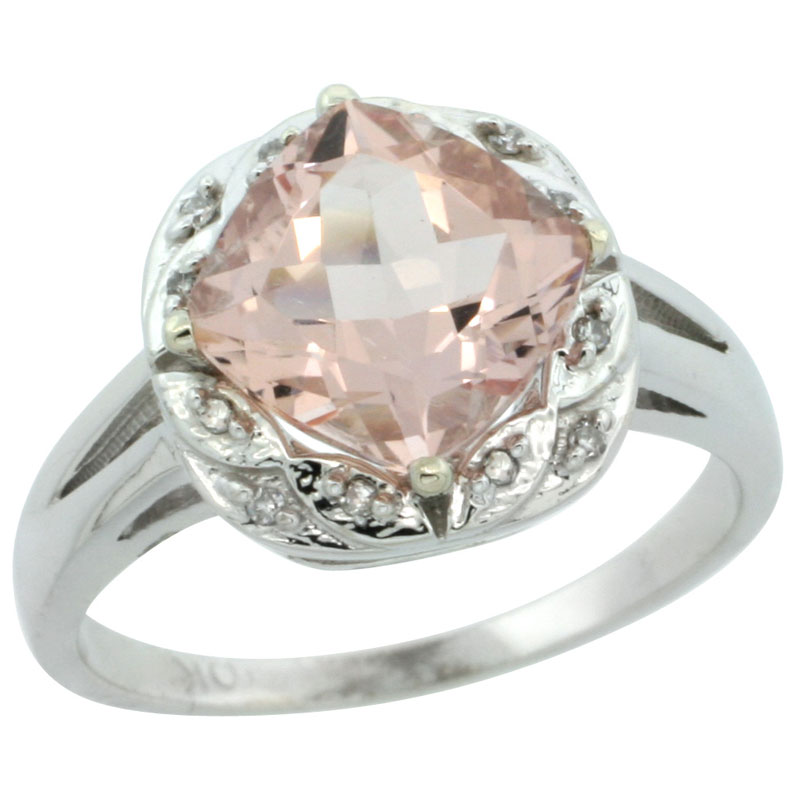 14K White Gold Natural Morganite Ring Cushion-cut 8x8mm Diamond Halo, sizes 5-10