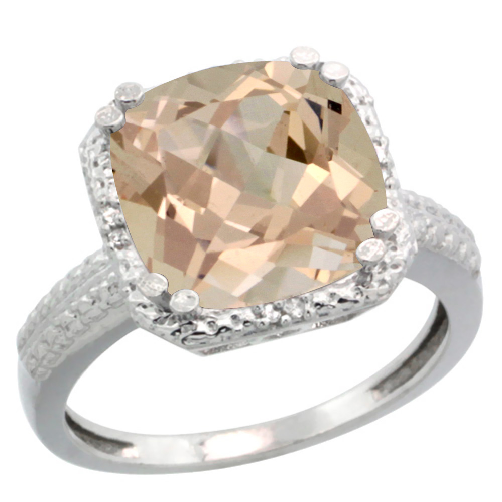 Sterling Silver Diamond Natural Morganite Ring Cushion-cut 11x11 mm, sizes 5-10