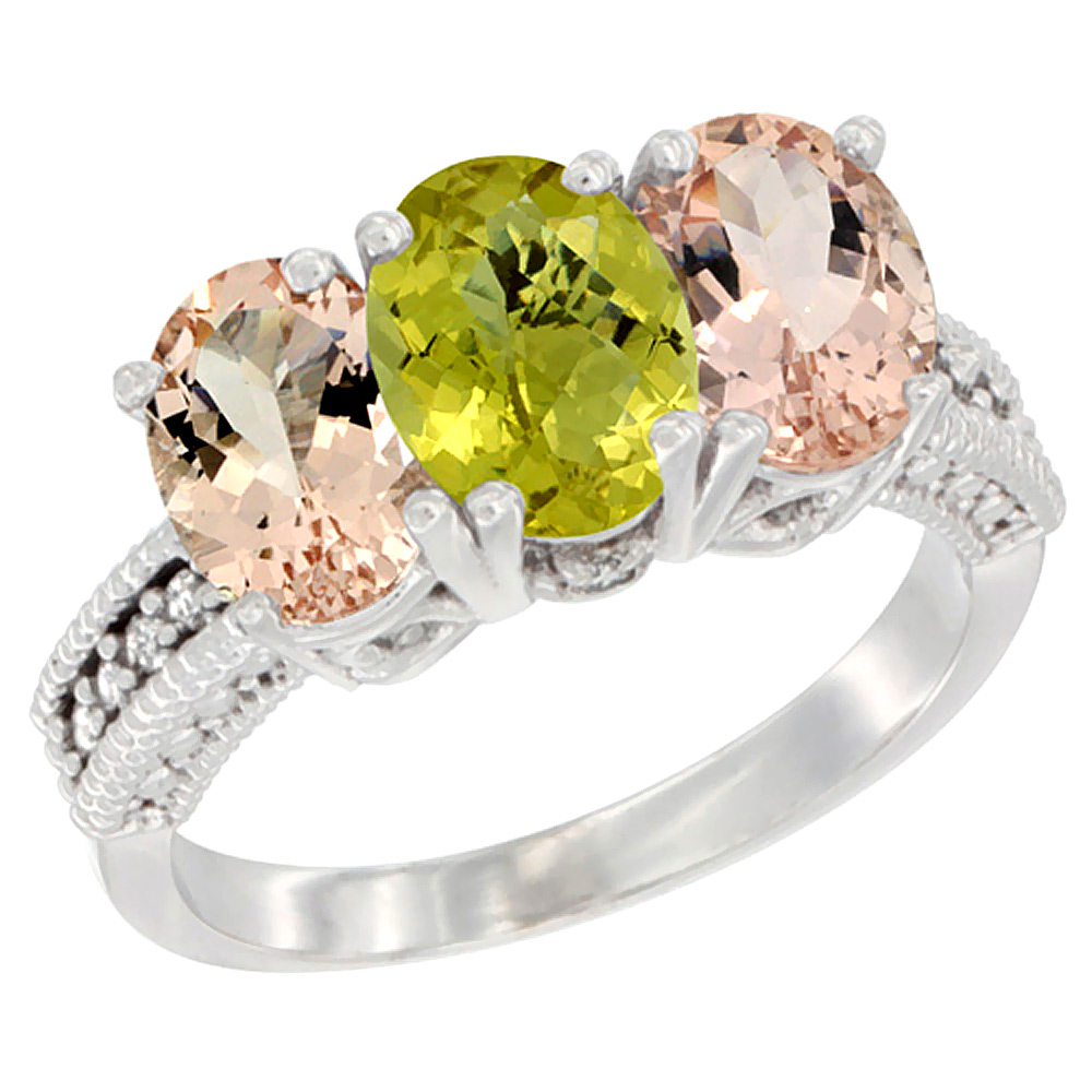 14K White Gold Natural Lemon Quartz & Morganite Sides Ring 3-Stone Oval 7x5 mm Diamond Accent, sizes 5 - 10