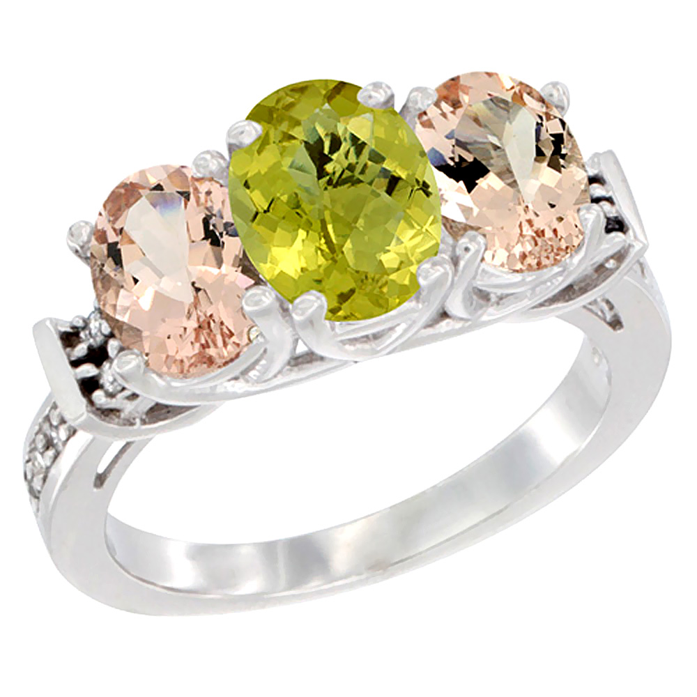 14K White Gold Natural Lemon Quartz & Morganite Sides Ring 3-Stone Oval Diamond Accent, sizes 5 - 10