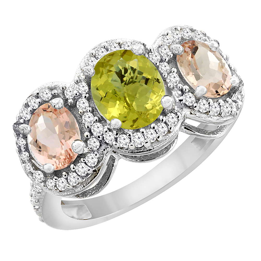14K White Gold Natural Lemon Quartz & Morganite 3-Stone Ring Oval Diamond Accent, sizes 5 - 10