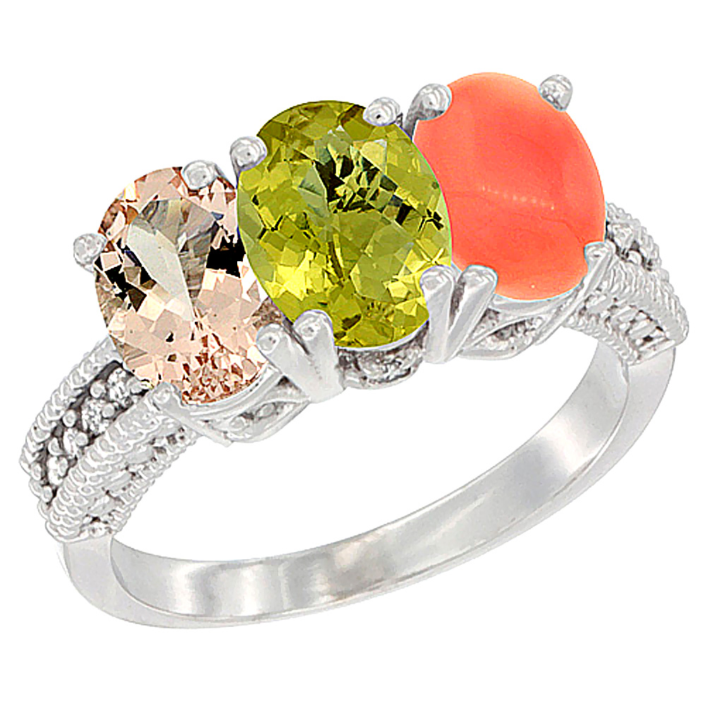 14K White Gold Natural Morganite, Lemon Quartz & Coral Ring 3-Stone Oval 7x5 mm Diamond Accent, sizes 5 - 10