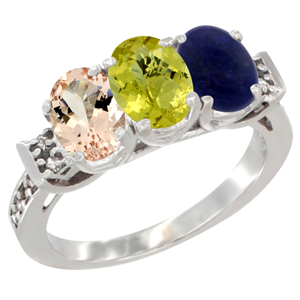 14K White Gold Natural Morganite, Lemon Quartz & Lapis Ring 3-Stone Oval 7x5 mm Diamond Accent, sizes 5 - 10