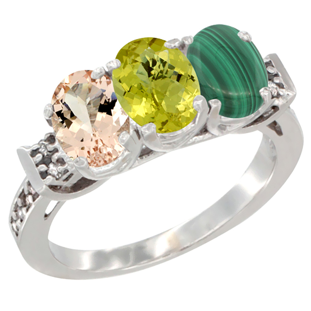 14K White Gold Natural Morganite, Lemon Quartz & Malachite Ring 3-Stone Oval 7x5 mm Diamond Accent, sizes 5 - 10