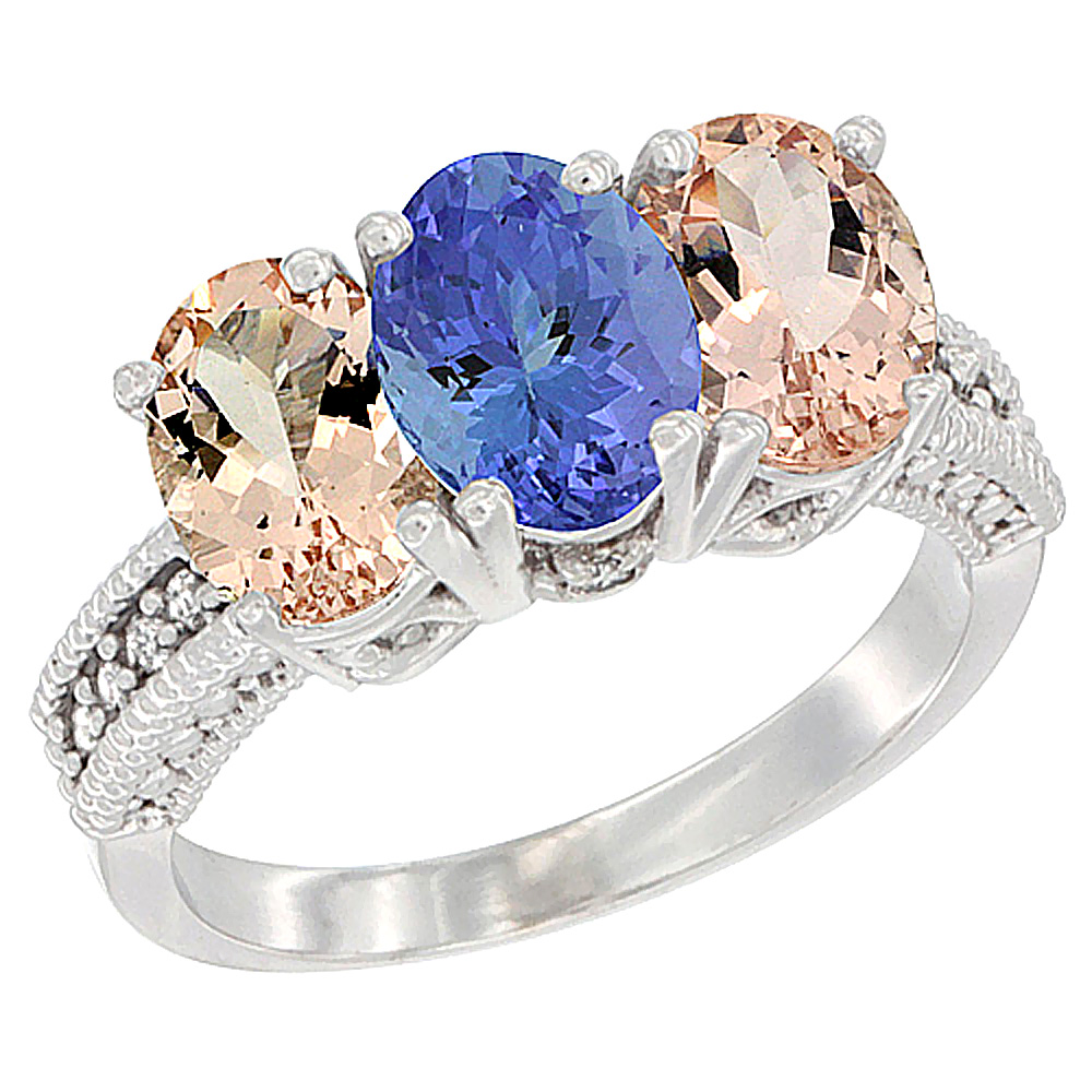 14K White Gold Natural Tanzanite & Morganite Sides Ring 3-Stone Oval 7x5 mm Diamond Accent, sizes 5 - 10