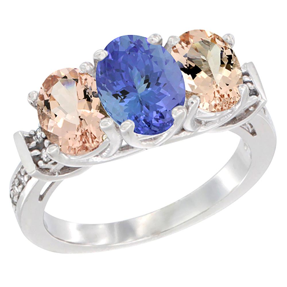 14K White Gold Natural Tanzanite & Morganite Sides Ring 3-Stone Oval Diamond Accent, sizes 5 - 10