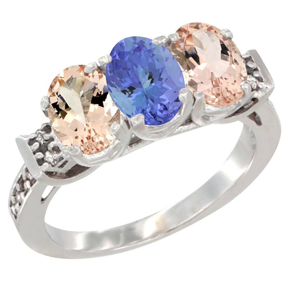 14K White Gold Natural Tanzanite & Morganite Sides Ring 3-Stone Oval 7x5 mm Diamond Accent, sizes 5 - 10