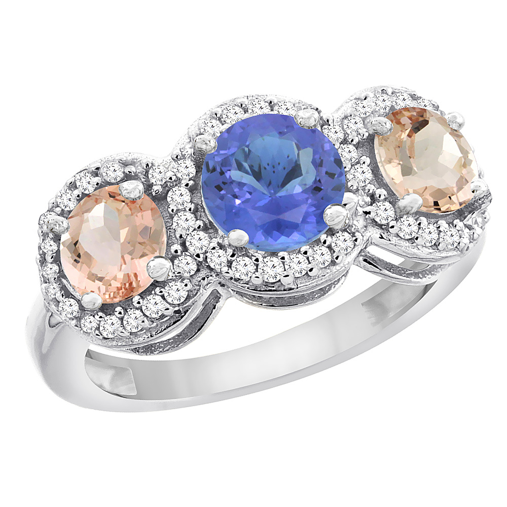 14K White Gold Natural Tanzanite & Morganite Sides Round 3-stone Ring Diamond Accents, sizes 5 - 10