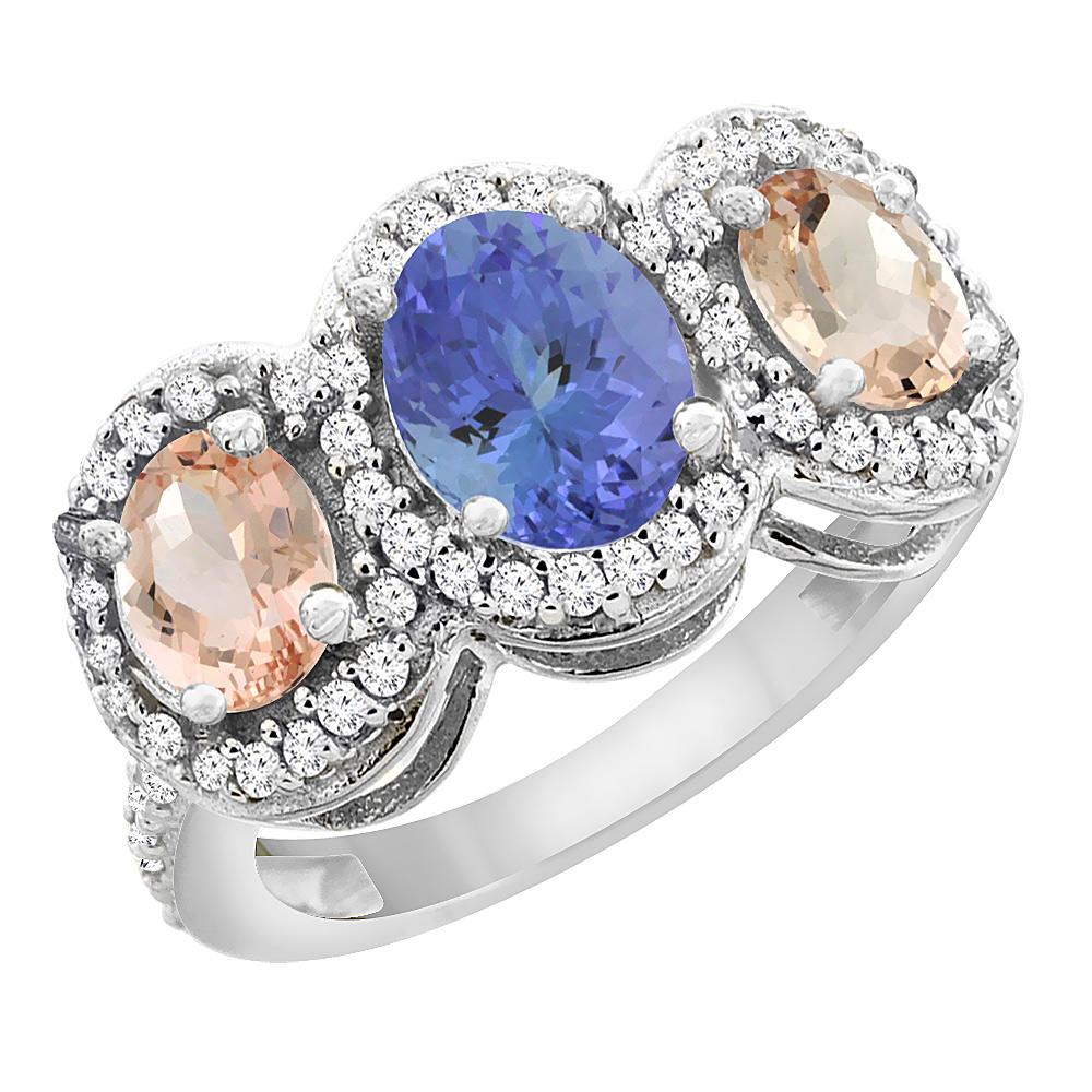 14K White Gold Natural Tanzanite & Morganite 3-Stone Ring Oval Diamond Accent, sizes 5 - 10