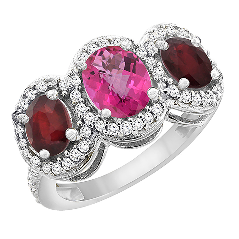14K White Gold Natural Pink Sapphire & Enhanced Ruby 3-Stone Ring Oval Diamond Accent, sizes 5 - 10