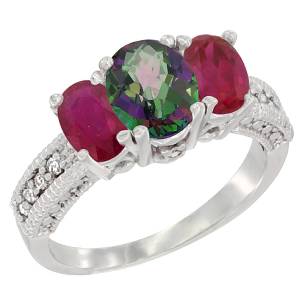 10K White Gold Diamond Natural Mystic Topaz Ring Oval 3-stone with Enhanced Ruby, sizes 5 - 10