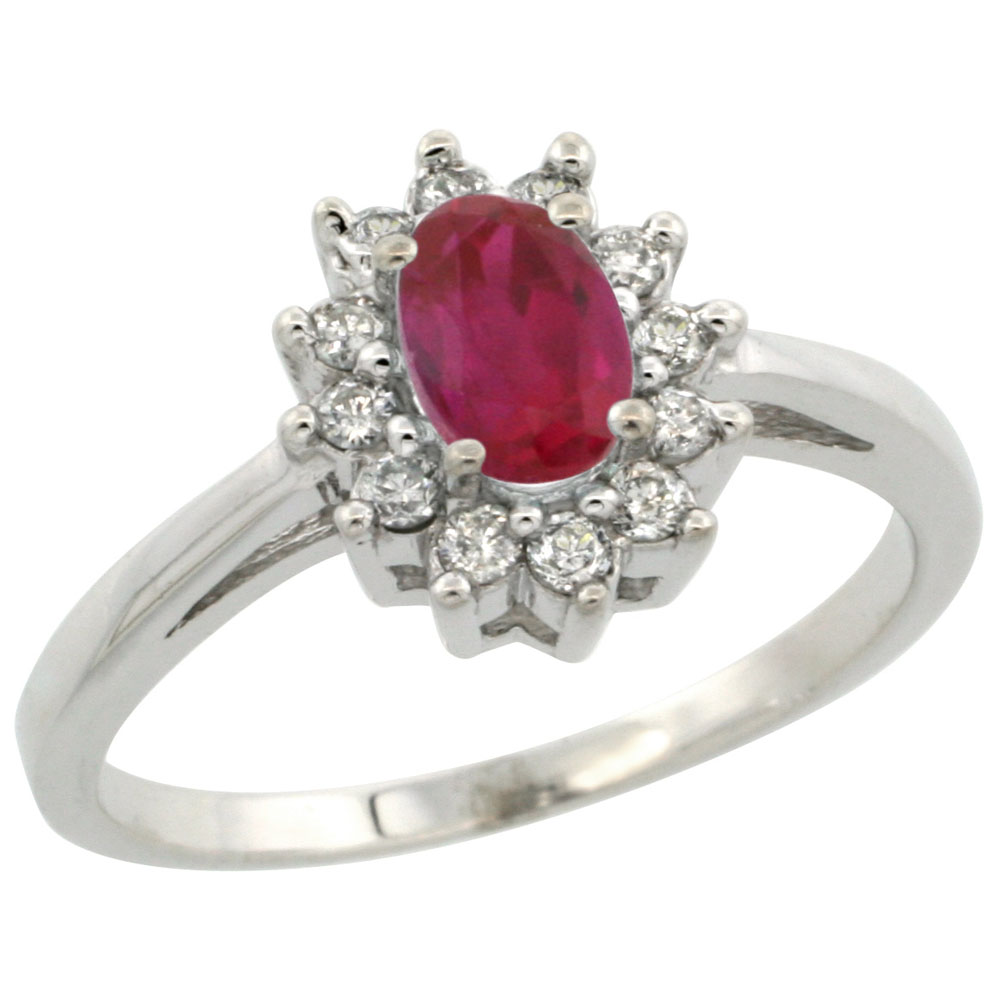 10K White Gold Enhanced Genuine Ruby Flower Diamond Halo Ring Oval 6x4 mm, sizes 5 10