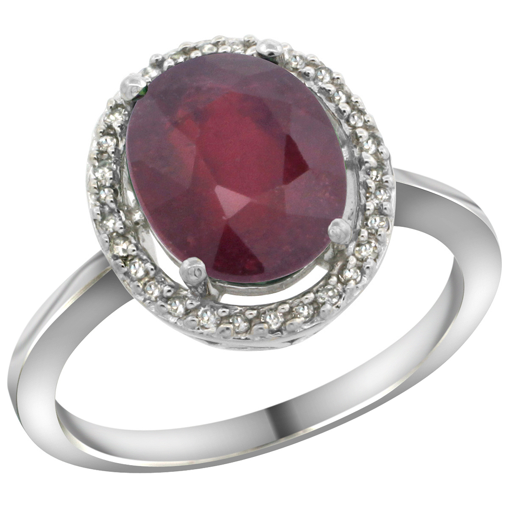 10K White Gold Diamond Halo Enhanced Genuine Ruby Engagement Ring Oval 10x8 mm, sizes 5-10
