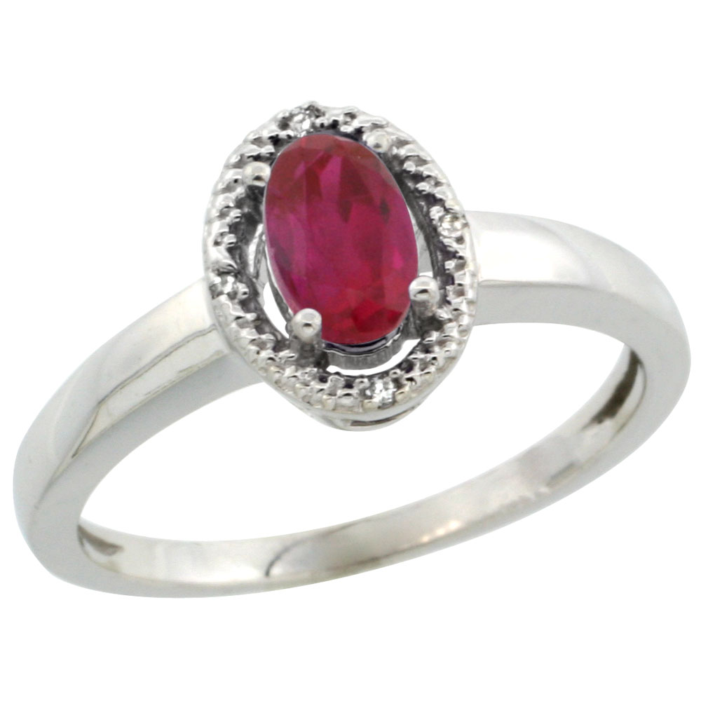 10K White Gold Diamond Halo Enhanced Ruby Engagement Ring Oval 6X4 mm, sizes 5-10