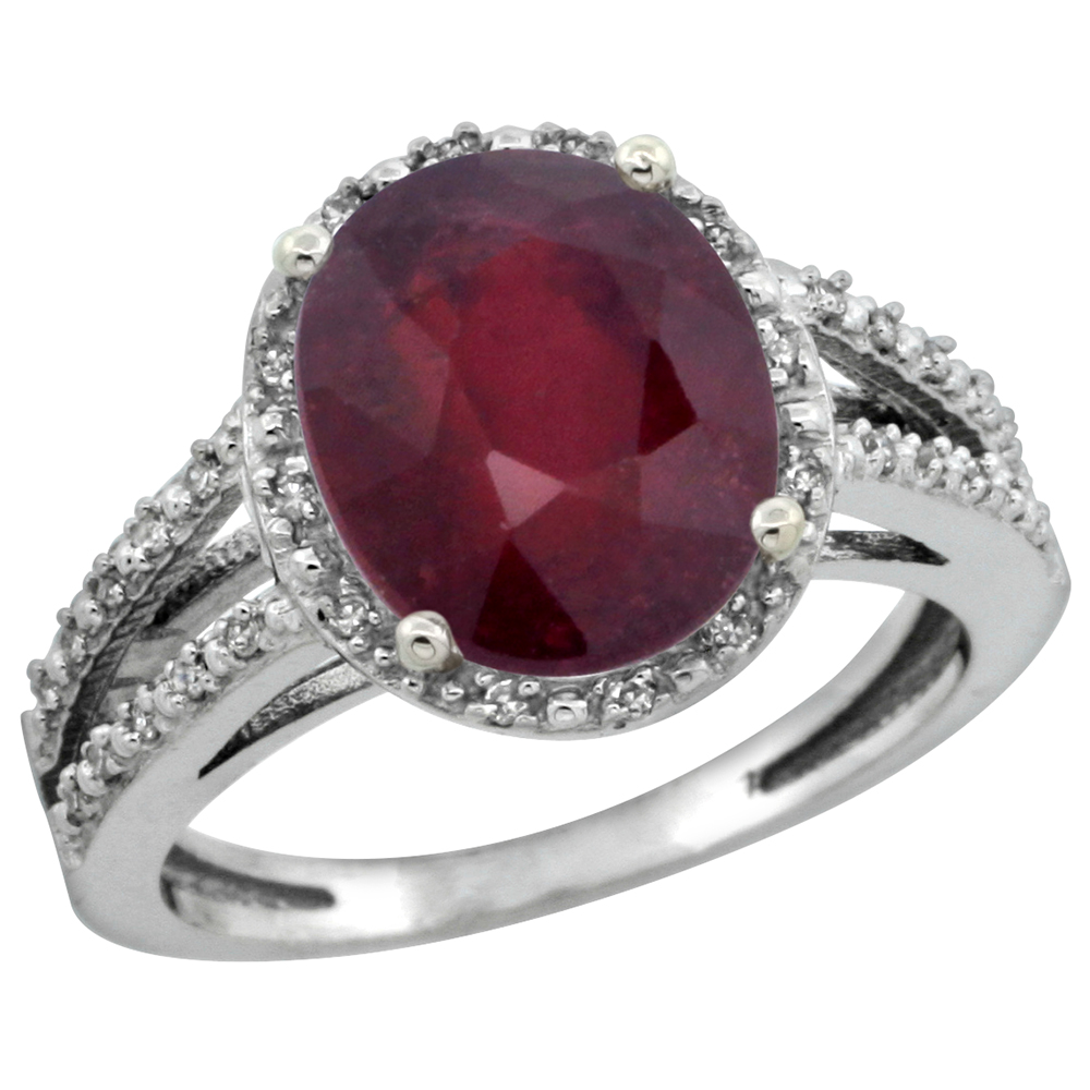 14K White Gold Genuine Diamond Halo Ruby Engagement Ring for Women 11 X 9 mm Oval sizes 5-10