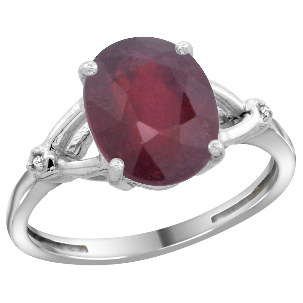 14K White Gold Diamond Enhanced Genuine Ruby Engagement Ring Oval 10x8mm, sizes 5-10
