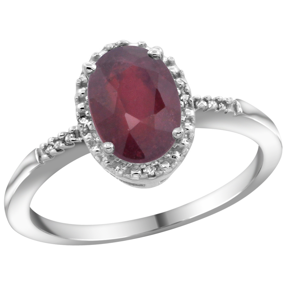 10K White Gold Diamond Enhanced Ruby Ring Oval 8x6mm, sizes 5-10