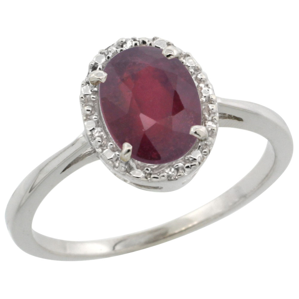 14K White Gold Enhanced Ruby Ring Oval 8x6 mm Diamond Halo, sizes 5-10