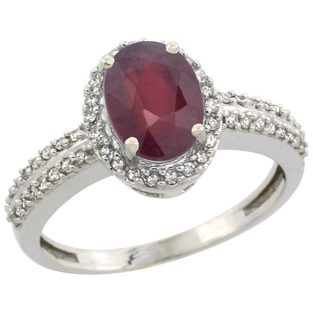 10k White Gold Enhanced Ruby Ring Oval 8x6mm Diamond Halo, sizes 5-10