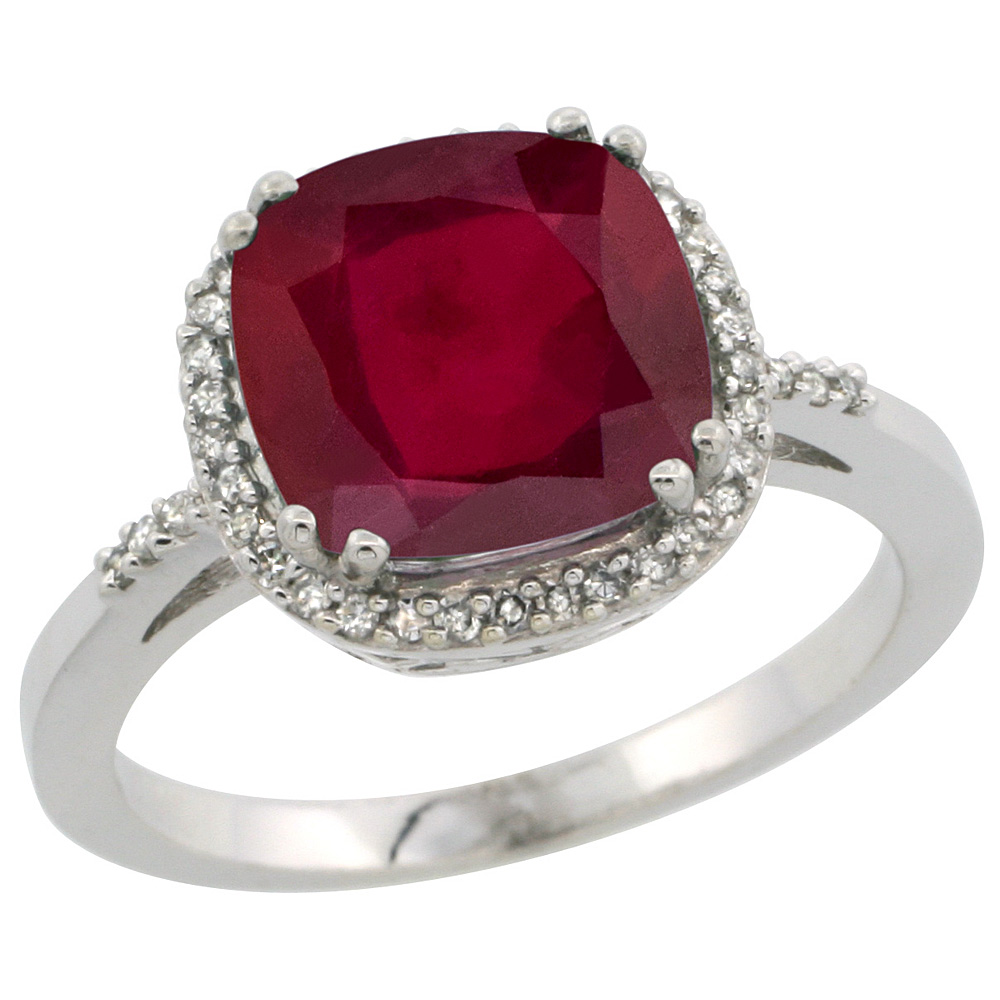 14K White Gold Diamond and Enhanced Genuine Ruby Ring Cushion-cut 9x9mm, sizes 5-10