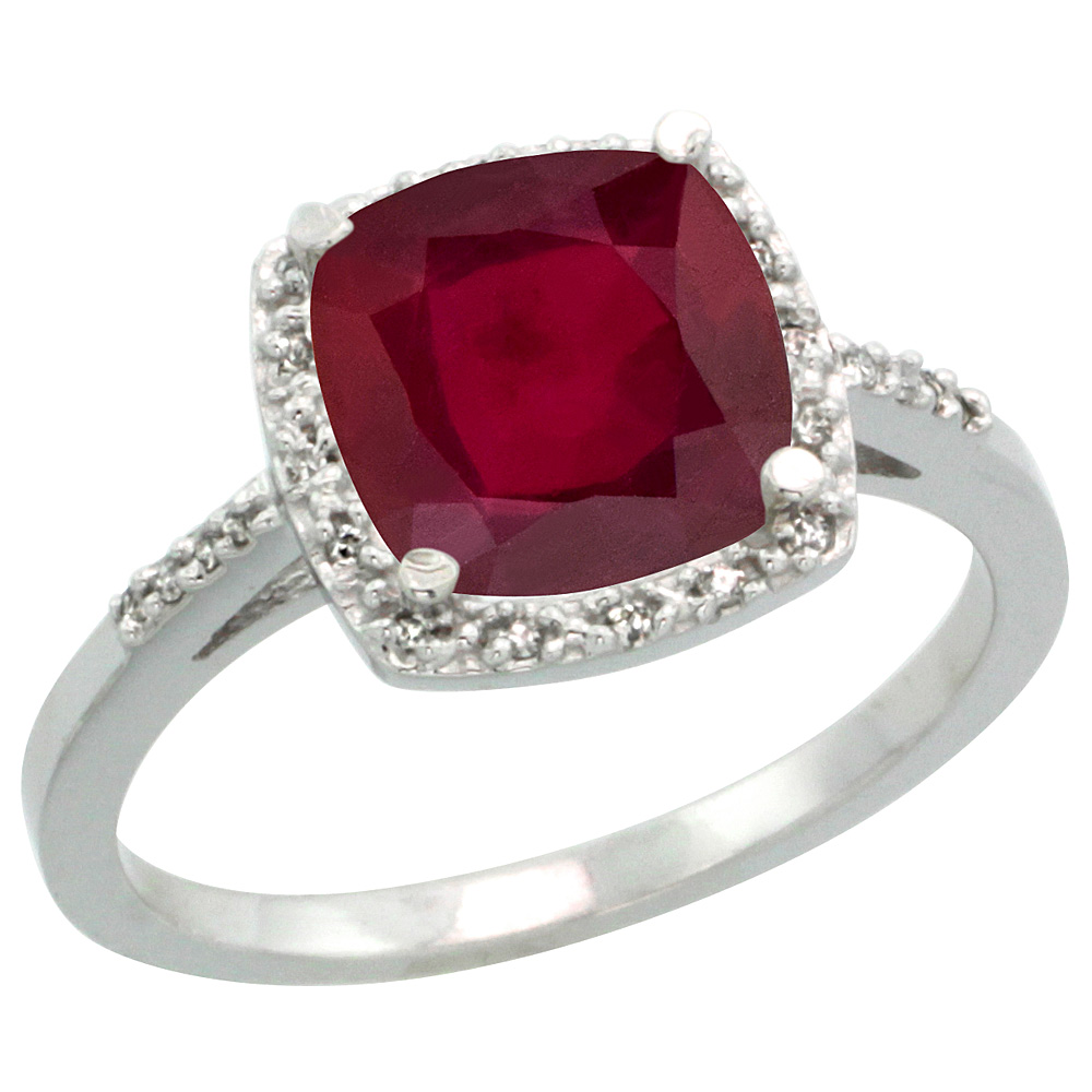 10K White Gold Diamond Enhanced Genuine Ruby Ring Cushion-cut 8x8 mm, sizes 5-10