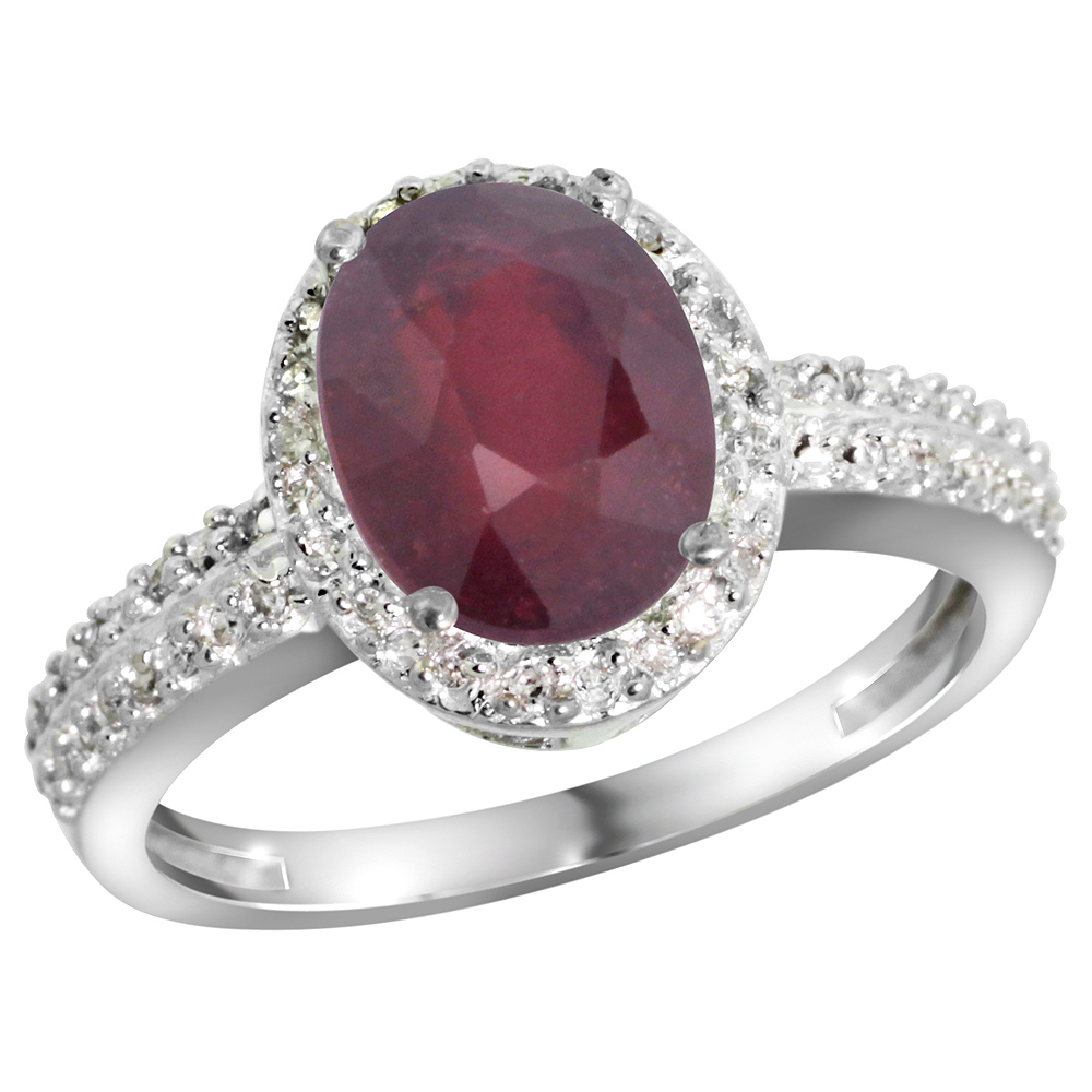 14K White Gold Diamond Enhanced Genuine Ruby Ring Oval 9x7mm, sizes 5-10
