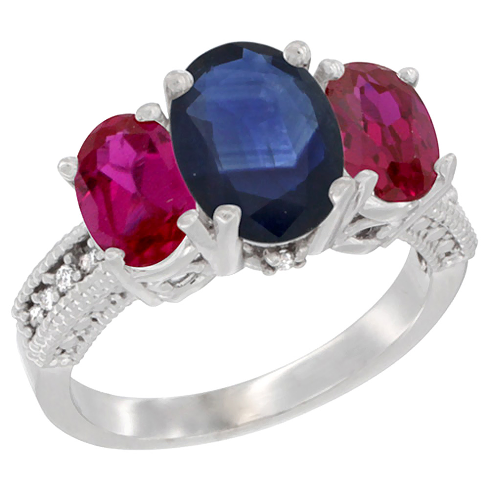 10K White Gold Diamond Natural Quality Blue Sapphire 3-stone Mothers Ring Oval 8x6mm with Ruby, size5-10